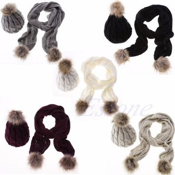 DCCKJG2 Winter Warm Women Fashion knitted Scarf and Hat Set Crochet Cap Beanie Ski Hat