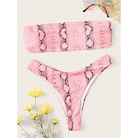 Snakeskin Bandeau With High Cut Bikini Set