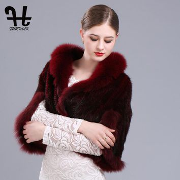 High quality Real Knit Mink Fur Shawl Poncho With Fox Trimming Mink Fur Jacket Fashion Women 2017 Mink Fur Coat