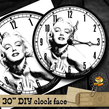 "Marilyn Monroe Engraved Portrait - DIY 30"" Clock Face - Printable Digital Download - Wall Decor - Paper Crafts - CP-957"