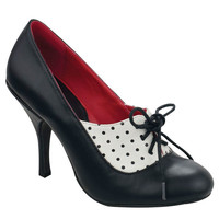 Black & White Dot Bombshell Tie Heels