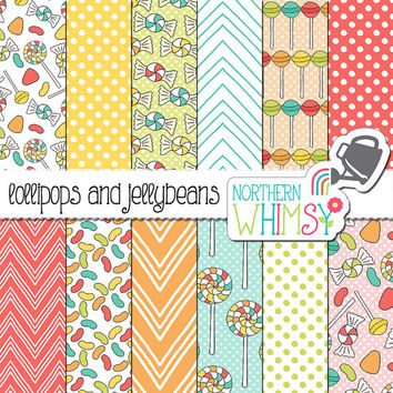 "Candy Digital Paper - ""Lollipops and Jellybeans"" - sweet scrapbook paper - pastel candy seamless patterns - printable paper - commercial use"