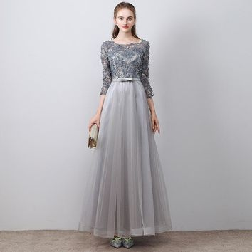 O-Neck Three Quarter Sleeve Prom Dresses Simple Lace Floor Length Tulle Luxury Evening Gowns
