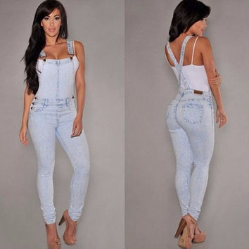 Light Blue Cross Back Denim Overalls