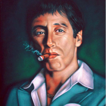 ON SALE Scarface Tony Montana Al Pacino black velvet oil painting handpainted signed art