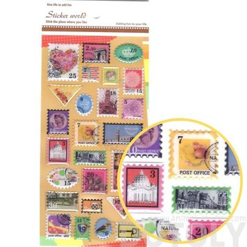 Colorful Vintage Stamps Shaped World Travel Airmail Themed Stickers for DIY Crafts