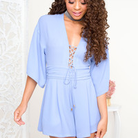 On My Mind Lace Up Romper - Periwinkle