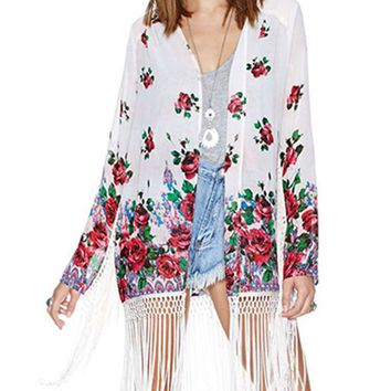 Casual Fringe Floral Hollow Out Kimono