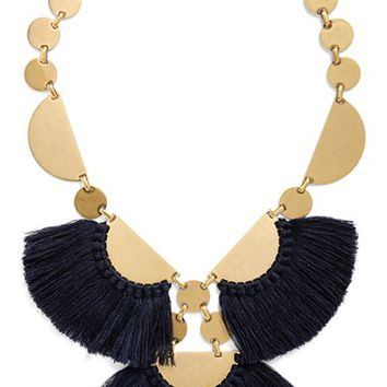 Women's Tory Burch 'Fringe Disc' Statement Necklace - Blue Stone/ Worn Gold