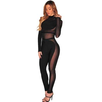 Black Sheer Mesh Insert Long Sleeve Bandage Jumpsuit