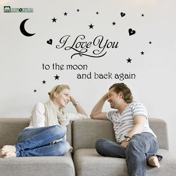 Free Shipping:Black I Love You To The Moon And Back Letters Transprent Waterproof Vinyl Wall Stickers Decal PVC Home Decor