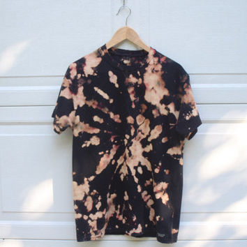 Spiral Bleach and Tie Dye Black Tee