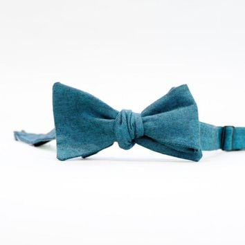 Solid Teal Chambray Bow Tie