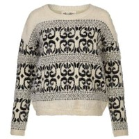 New Look Mobile | Grey Folk Fairisle Fluffy Jumper