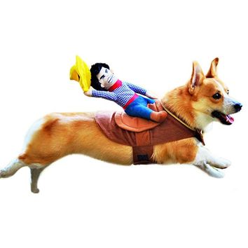 Dog Suit Pet Clothes Dog Clothes Pet Cowboy Horse Riding Clothes Dog Costume Novelty Funny Party Pet Clothing PT0994