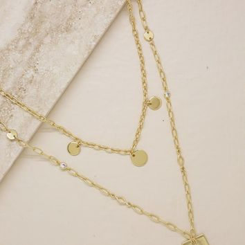 Delicate Layers Disc and Square Plate Charm Necklace in Gold