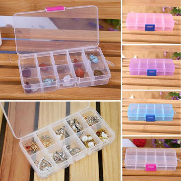 New Qualified 10 Grids Adjustable Jewelry Beads Pills Nail Art Tips Storage Box Case Levert Dropship dig635