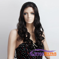 """26"""" Long Wavy without Bangs Synthetic Wigs for Women Lace Front Wigs Dark Brown"""