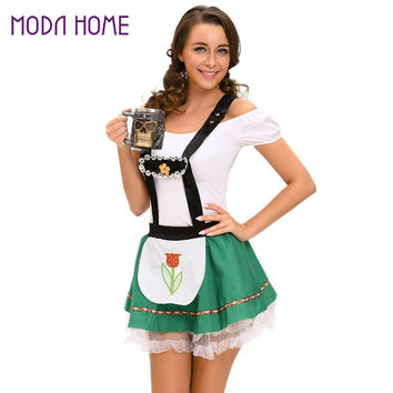 Women Sexy Oktoberfest Costume Beer Maid Cosplay Halloween Party Wench Bar Costume Fancy Dress Green Bar Girl Clothes SM6