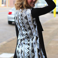 Sequin Fun Tribal Cardigan {Black Mix}