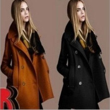 LMFUG3 Winter Women's European and American temperament Slim woolen coat lapel double-breasted wool = 1930339780