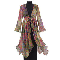 Peacock Print Duster - Women's Clothing & Symbolic Jewelry – Sexy, Fantasy, Romantic Fashions