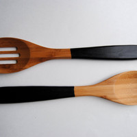 "Set of 2 Dipped 12"" Wooden Bamboo Slotted Solid Kitchen Servers Cooking Spoons - Black"