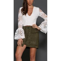 Women's Vintage Lace Up High Waist Bodycon Faux Suede Mini Skirt Army Green