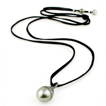 Tahitian Pearl and Champagne Pave Diamond Necklace on Deerskin Leather