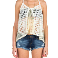 Open Crochet Racerback Tank - Large