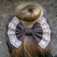 chocolate brown and lace fabric barrette for teens and women,french barrette, hair bows bow hair clip big bow hair clip