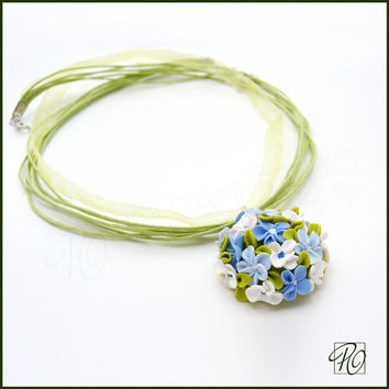 Polymer Clay Necklace Blue - Polymer Clay Jewelry Forget Me Not Tiny Flowers Blue White Green. READY TO SHIP.
