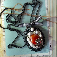 Oval Rose and red glass stone with white beads pendant necklace with bow black retro style necklace