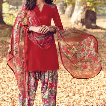 Red Printed Tussar Silk Straight Cut Suit