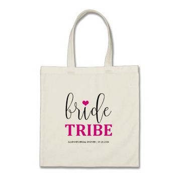 "Hot Pink ""Bride Tribe"" Bridal Shower Tote"