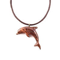 Wooden Pendant, Dolphin Pendant Necklace, Wood Jewelry, Carved Dolphin Pendant, Wood Dolphin Pendant, Carved Wood Necklace, Nautical Jewelry