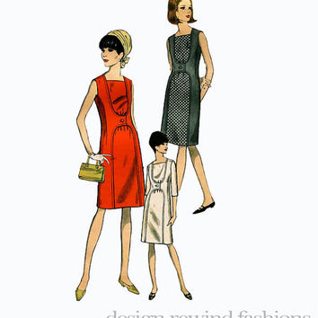 1960s MOD Cocktail Evening Day Office Dress Contrast or Self Bias Front Panel & 3/4 Sleeves Vogue 6758 Bust 36 UNCUT Vintage Sewing Patterns