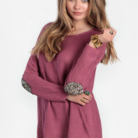 First Move Sequined Elbow Patch Sweater in Mauve - $52.00: ThreadSence, Women's Indie & Bohemian Clothing, Dresses, & Accessories