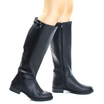 Pace By Soda, Equestrian Fashion Riding Boots w Block Heel & Top Strap