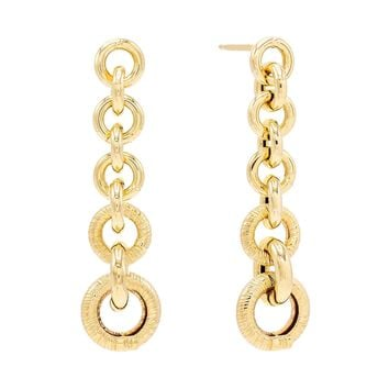 Chain Drop Stud Earring 14K