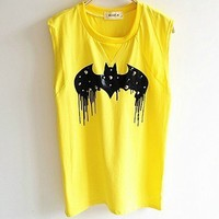 Cute Rivet Bat Print Graphic Vests