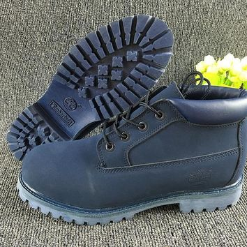 LMFON Timberland Rhubarb Boots Mid-high Shoes Blue Waterproof Martin Boots