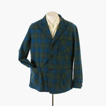 Vintage 60s Men's PENDLETON JACKET / Vintage 1960s 49er Style Shadow PLAID Blazer M - L