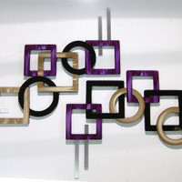 2pc Purple Passion Geometric Wood & Metal Wall Sculpture-Contemporary Modern Art by Diva Art69 Studios