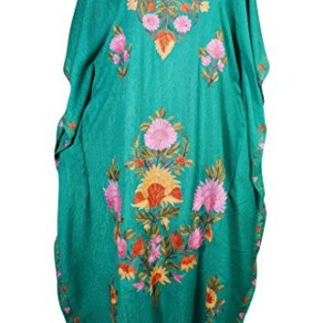 Mogul Womens Kaftan Floral Embroidery Kashmiri Cover Up Caftan Evening Dress (Green)