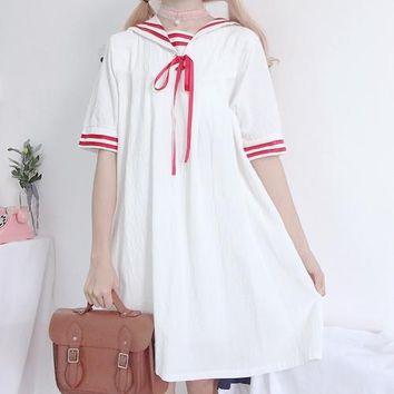Harajuku kawaii Summer women dresses loose High waist wild thin Japanese soft sister doll dress navy collar Cotton dress