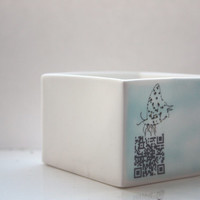 Big pure white cube made from English fine bone china with a hind of blue and illustrations - geometric decor- illustrated ceramics