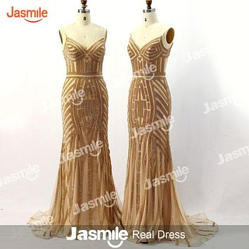 New Arrival Mermaid Prom Dresses Sweetheart Spagetti Straps Bling Crystal Beading Blue Black White Long Evening Gowns 2016 JB966