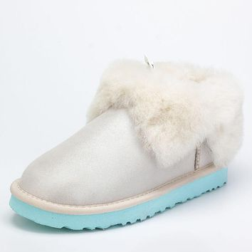 UGG Trending Women Men Winter Four-Leaf Fur Snow Boots Warm Anti-Skid Short Boots White
