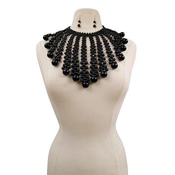 Black Pearl Necklace Set Featuring Graduated Pearl Drop Fringe